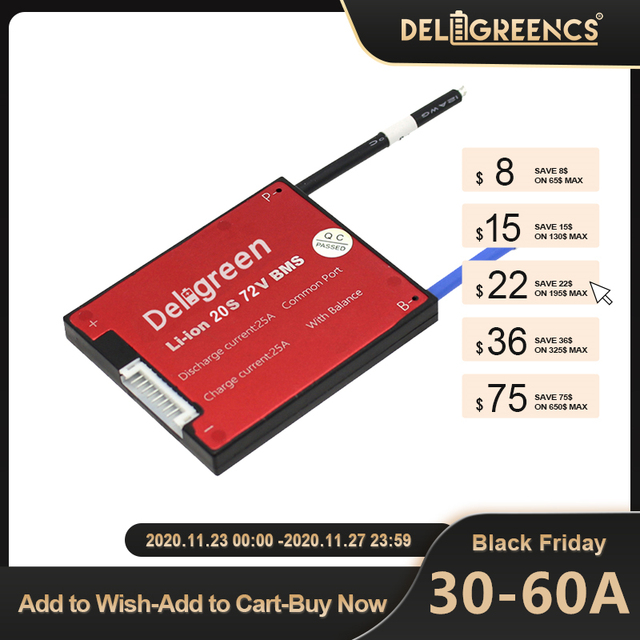 Deligreen 7S 15A 20A 30A 40A 50A 60A 24V PCM/PCB/BMS for 3.7V lithium battery pack 18650 Lithion LiNCM Li Polymer Scooter