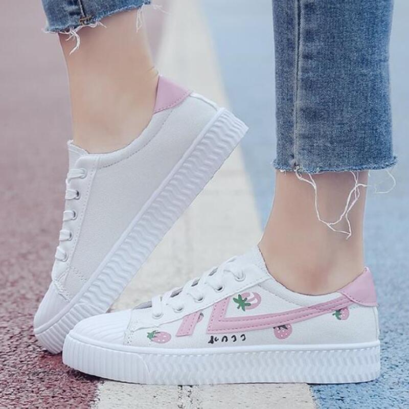 Женская парусиновая обувь; женская повседневная обувь на плоской подошве с принтом из мультфильма; Модные женские белые кроссовки на