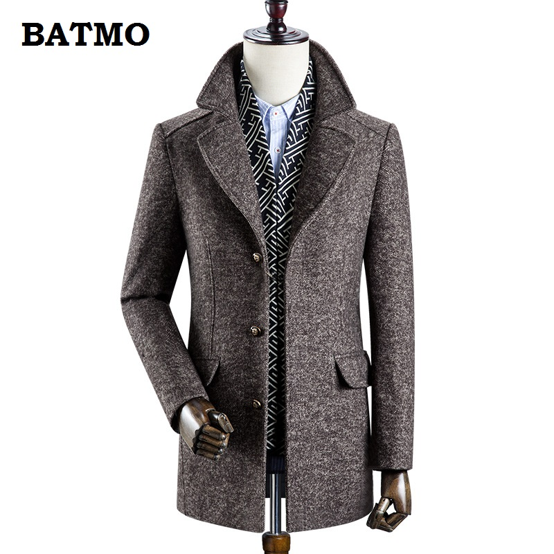 BATMO 2019 New Arrival Winter High Quality 60% Wool Thicked Trench Coat Men,men's Gray Wool Jackets ,plus-size M-3XL,0833