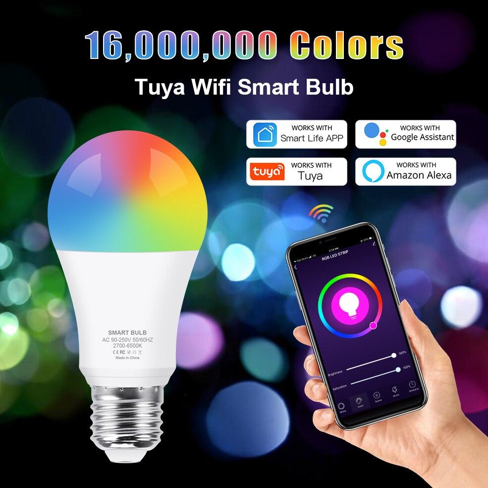 12W 15W WiFi Smart Light Bulb E27 LED RGB Lamp Work with Alexa/Google Assistant RGB+White+WW Dimmable Timer Tuya Smart Life Bulb