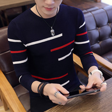 Spring Long Sleeve Knitted Sweaters Casual Men Sweater Color Patchwork O-Neck Top Blouse For Warm Men's Striped Clothing C254