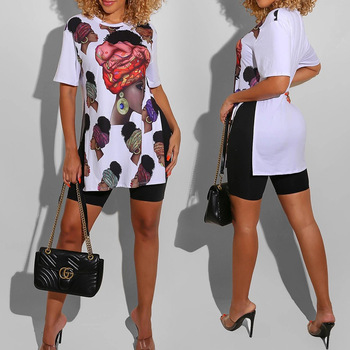 Summer Elegent 2020 African Women Printing Polyester O-neck Short Sleeve T-shirt African Clothing image
