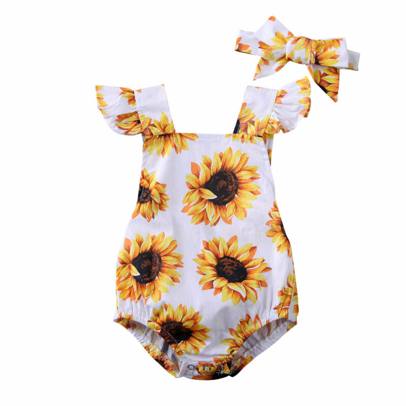 0-24M Flower Newborn Infant Baby Girl Rompers Ruffles Sunsuit Jumpsuit Summer Baby Girls Costumes