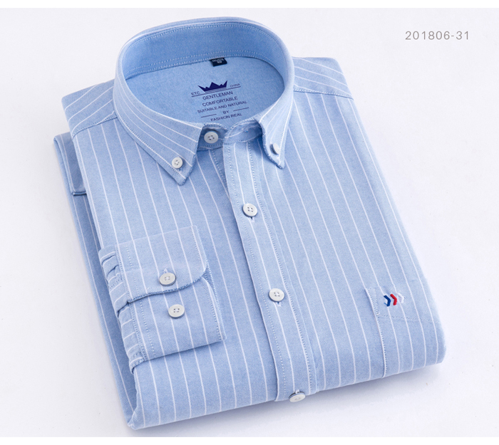H9fa4ecb4c1e644f686a7dd9a15107e10Q - Men's Casual 100% Cotton Oxford Striped Shirt Single Patch Pocket Long Sleeve Standard-fit Comfortable Thick Button-down Shirts
