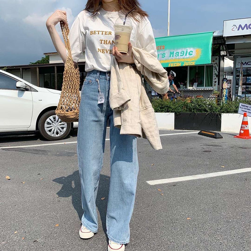 Image 2 - Lizkova Jeans Women Vintage Straight Pants Light Blue High Waist Dad Denim Pants 2020 Korean Style Streetwear MT6526Jeans   -