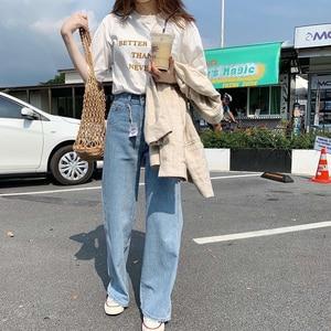 Image 2 - Lizkova Jeans Women Vintage Straight Pants Light Blue High Waist Dad Denim Pants 2020 Korean Style Streetwear MT6526