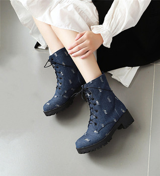 2019 Autumn Denim Holes Cowboy Block Chunky Heel Lace Up Boots Blue Black Cross Tied Ankle Combat Boots for Women Shoes