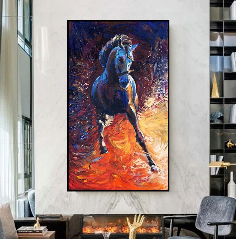 الحيوانات صور ملونة والجري الحصان قماش اللوحة النفط اللوحة الحديثة ملصق جدار الصورة في غرف معيشة ديكور المنزل