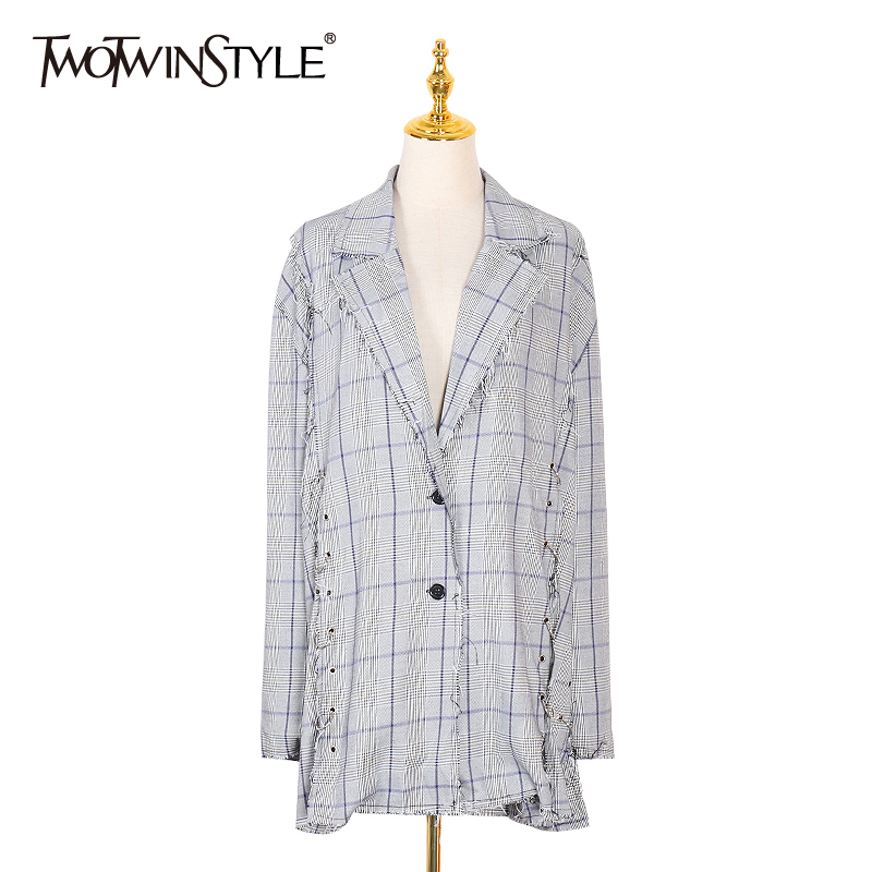 TWOTWINSTYLE Korean Plaid Blazer For Women Patchwork Tassel Lapel Collar Long Sleeve Side Bandage Coats Female 2020 New Fashion