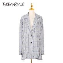 TWOTWINSTYLE Korean Plaid Blazer For Women Patchwork Tassel Lapel Collar Long Sl
