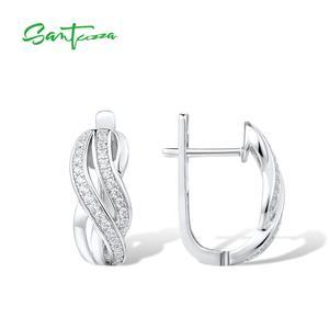 Image 3 - SANTUZZA כסף עגילים לנשים טהור 925 כסף סטרלינג עגילי כסף לבן CZ brincos תכשיטים