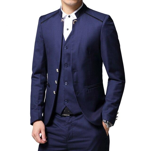 Herren Anzug 3 Stück Set Slim fit Männer Anzug Jacken + Hosen + Westen Hochzeit Bankett Männlichen einfarbig business Casual Blazer Mäntel