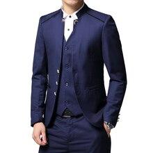 Homme costume 3 pièces ensemble Slim fit hommes costume vestes + pantalons + gilets de mariage Banquet mâle couleur unie affaires jolie pochette manteaux