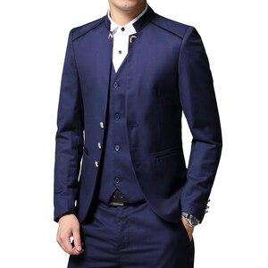 Image 1 - Mens Suit 3 Piece Set Slim fit Men Suit Jackets + Pants + Vests Wedding Banquet Male Solid color Business Casual Blazer Coats