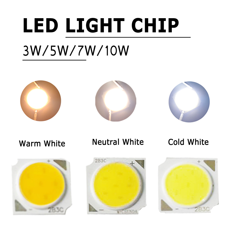 3/5/7/10 Watt Neutral White Warm White Super Bright LED Beads Lamp Chip Round DC 9-12V Spotlight Wholesale Cold White