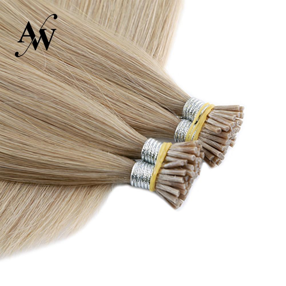 AW 20'' 28'' 1g/s Straight Keratin Pre-bonded I Tip Hair Extensions Double Drawn Remy Fusion Stick Natural Human Hair Extensions