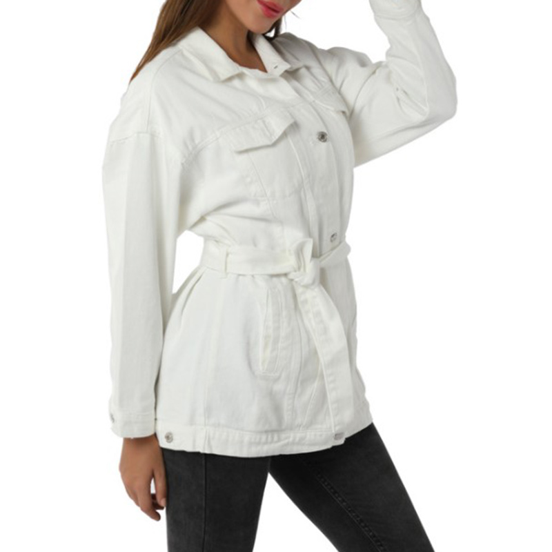 White Wash Belted Longline Denim Jacket Coat Women Autumn Spring Turn-down Collar Solid Buttoned Casual Jackets Outwear