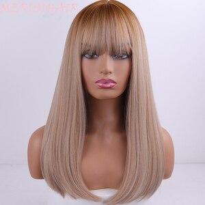 Image 3 - Perruques synthétiques lisses sans colle longue couleur noire, brune ombré, perruque de Cosplay en Fiber de haute température pour femmes noires/blanches