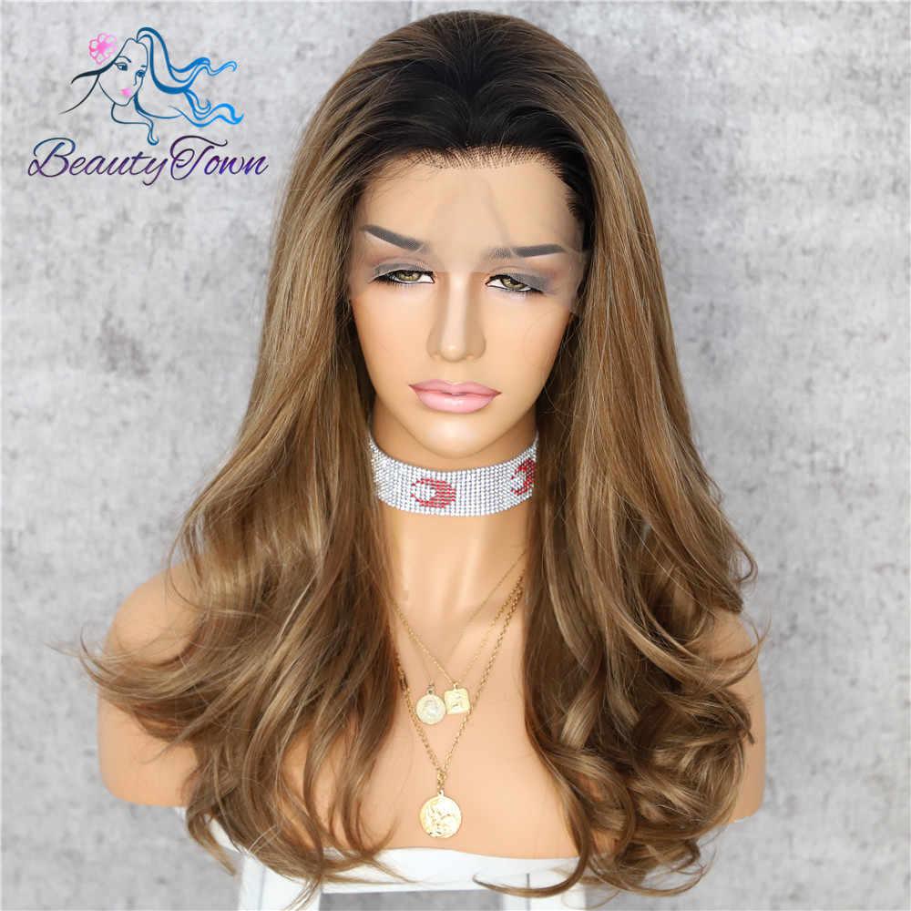 BeautyTown brązowy niebieski zielony różowy srebrny złoty odporne na ciepło Drag Queen makijaż Blogger Wedding Party syntetyczna koronka peruka Front
