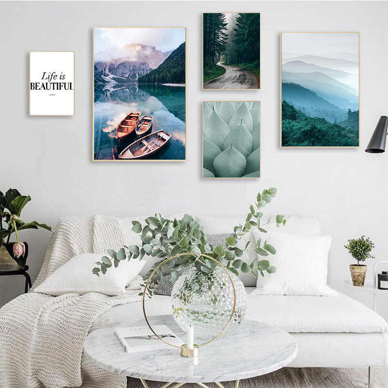 Nordic Style Scandinavian Lake Boat Canvas Poster Nature Landscape Wall Art Print Canvas Painting Decorative Picture Living Room