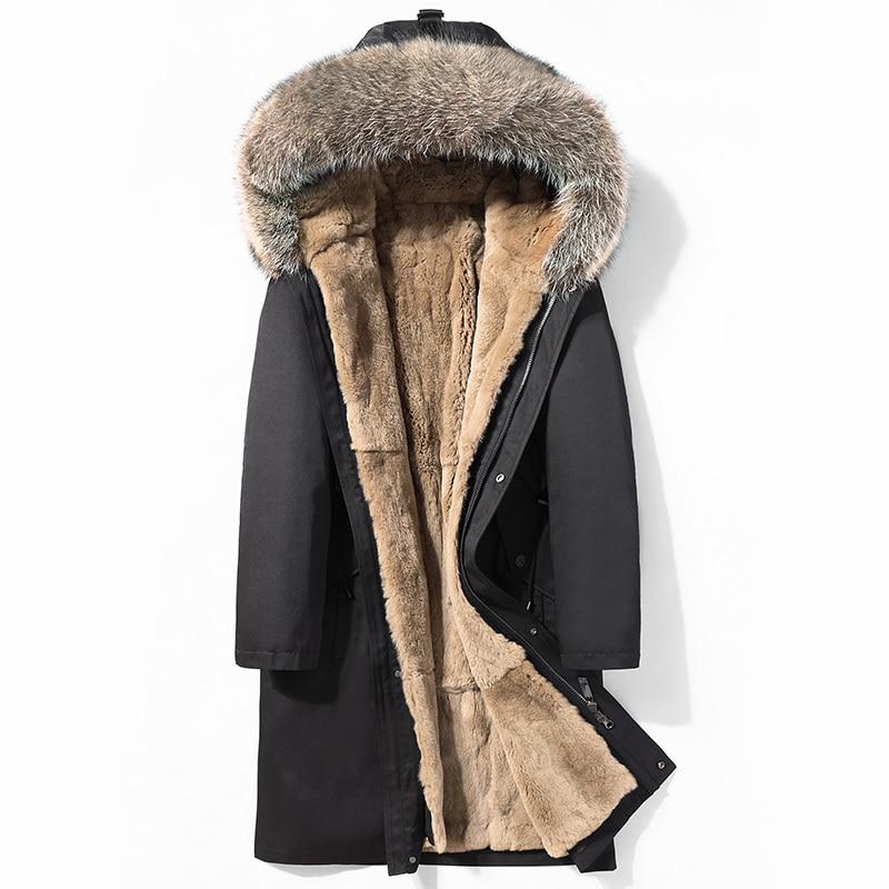 Long Winter Jacket Men Parka Real Fur Coat Men Natural Rex Rabbit Fur Liner Raccoon Fur Collar Thick Parkas 2020 4998 KJ3582