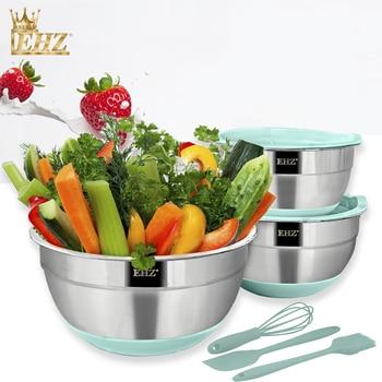 EHZ Mixing Bowl Set Stainless Steel Salad Bowl Set Multi-Purpose Sealed Fresh Bowl Non-Slip Silicone Bottom Kitchen Baking Tool
