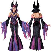 Costume di Halloween per le Donne di Età Fantasia Carnevale Malefica Sleeping Beauty Male Strega Cosplay Nero Queen Hat Fancy Dress up