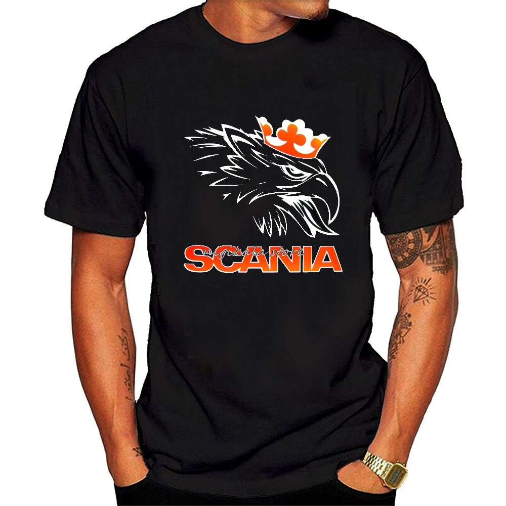 Crazy Top Tee Casual Men O-Neck Casual T-Shirts Scania Logo Men Round Neck  Tops Black Size S 3XL Short-Sleeve Tee Shirts