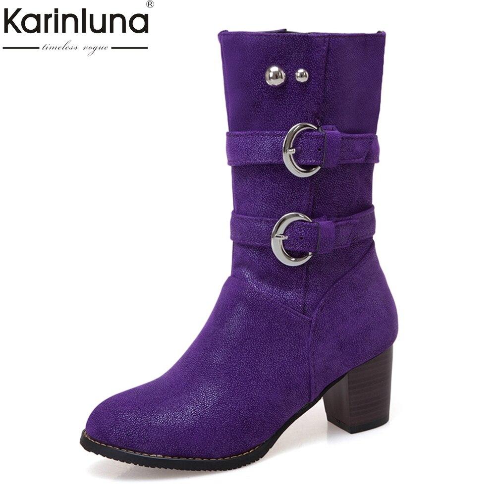 Femmes grande taille 34-48 chunky talons hauts mi-mollet bottes femmes chaussures femme ajouter de la fourrure automne hiver chaussures femme bottes 2019