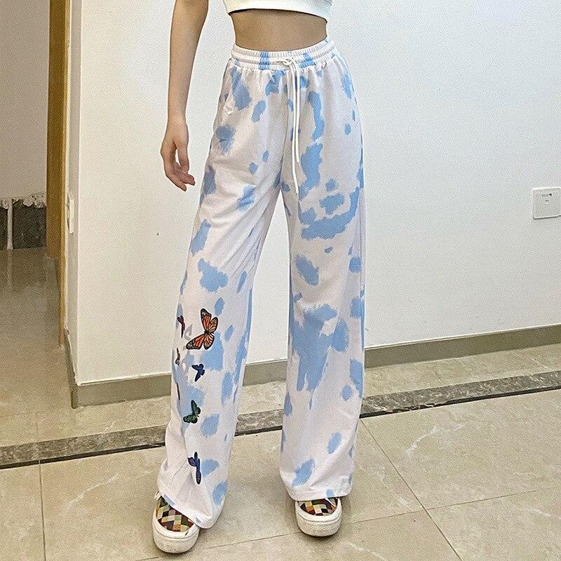 Autumn Fall Women Butterfly Print Wide Leg Pants Streetwear Drawstring Lace Up High Waist Sweatpants Trackpants Capris Korean