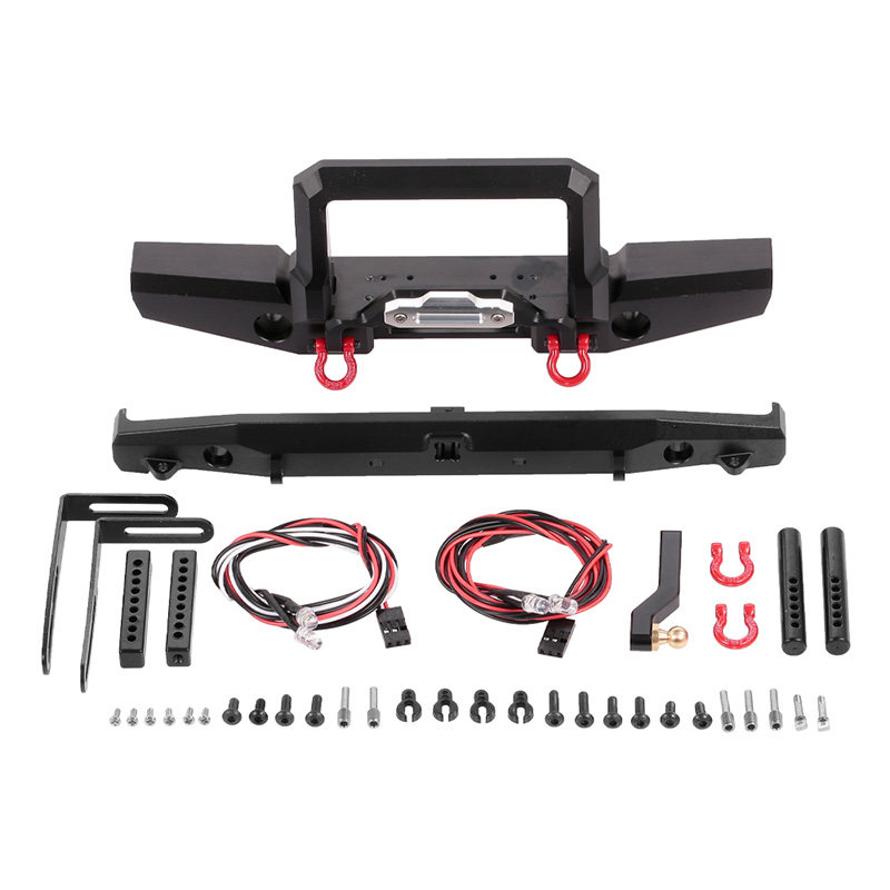 RC Rock Crawler Metal Front Rear Bumper with Led Light for <font><b>1/10</b></font> RC Crawler TRAXXAS TRX-4 TRX4 Defender RC Parts <font><b>Accessories</b></font> image