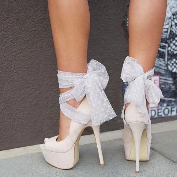 Chaussures à lanières ivoire talon aiguille femmes Peep Toe pompes avec chaussures à plate-forme