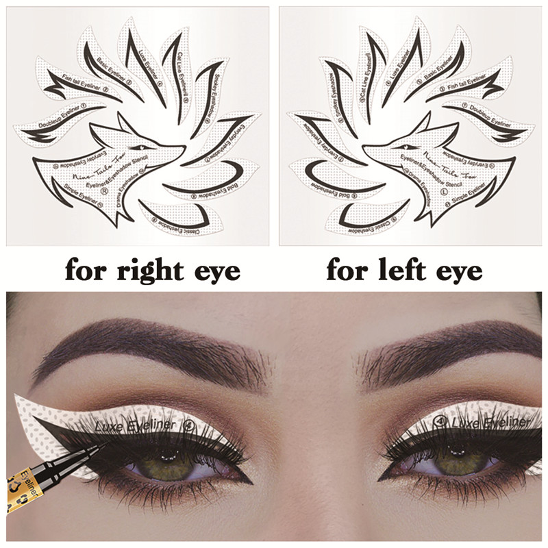 Non woven Eye Makeup Stencils Eyeliner Template Shaping Tool Eyebrows Eye Shadow Makeup Template Tool Stickers Card Lazy Useful