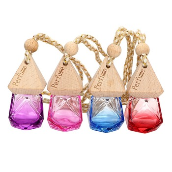 Empty Glass Bottle Gradient Crystal Car Hanging Perfume Air Diffuser Rearview Oils Essential Mirror Freshener Fragrance Orn G2H5 image