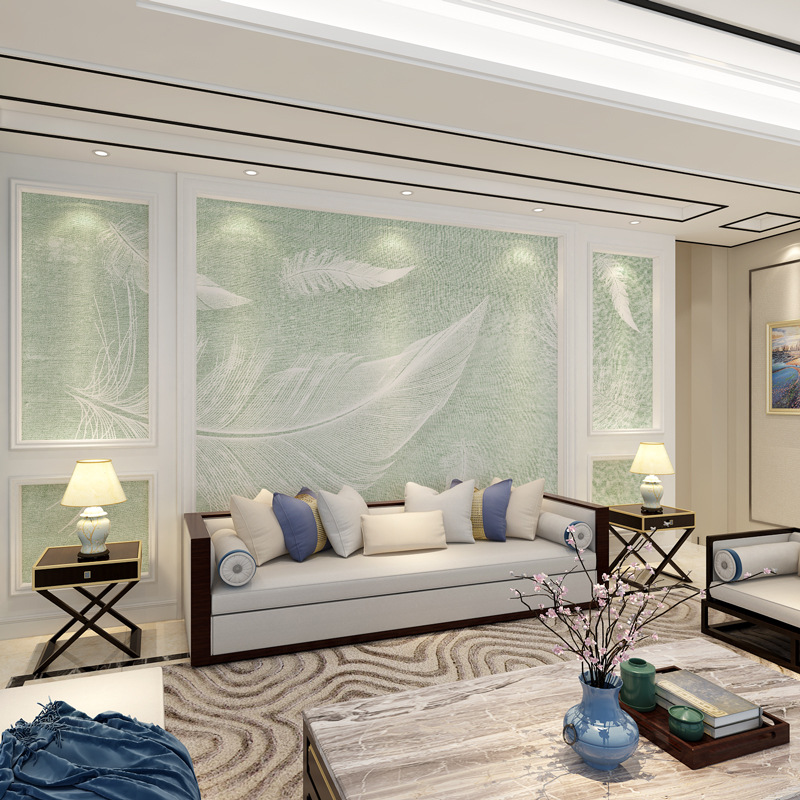 Fresh Nordic White Feather Texture TV Backdrop Wallpaper Living Room Mural Bedroom Wallpaper Art