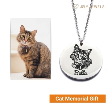 цена JrSr 925 Sterling Silver Custom Pet Portrait and Name Necklaces Personalized Pet Pendant Necklace for animal gifts Free shipping онлайн в 2017 году