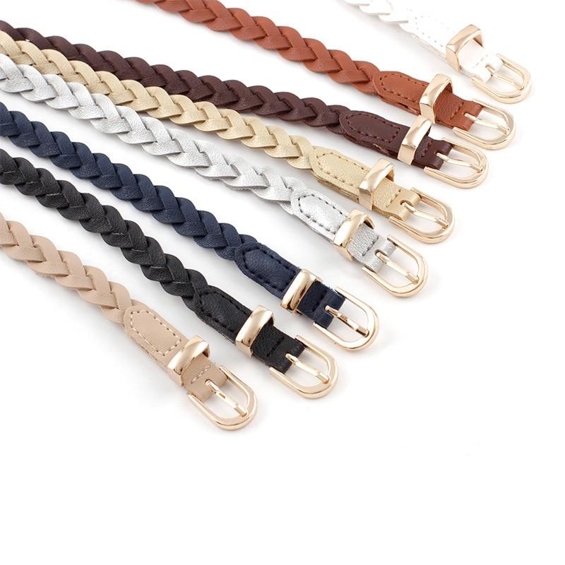 Women's PU Leather Braided Dress Belt New Fashion Causal Waistband 1.2cm Thin Belt Golden Pin Buckle Belt