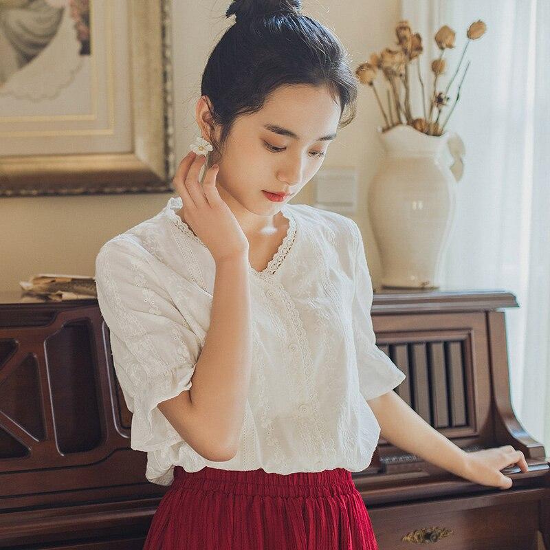 INMAN, винтажный яркий стиль, лето 2020, Новое поступление, короткий рукав, вышивка, белая элегантная женская блузка