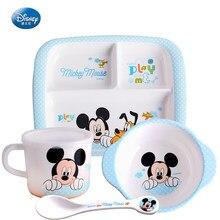 Disney suprimentos de alimentação da criança mickey minnie utensílios de mesa tigela de arroz do bebê placa de jantar copo colher de bebê tigela de refeição conjunto