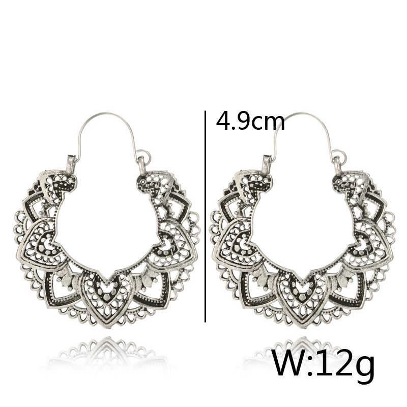 Tocona 15 Style Vintage Antique Silver Color Earrings for Women Hollow Carve Flowers Gypsy Tribal Ethnic Dangle Earrings серьги