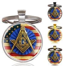Classic Handmade American Flag  Freemason Glass Dome Metal  Key Chain Unique Men Women Key Ring Jewelry Gifts Keychain