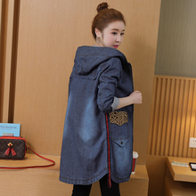 Plus Size Leopard stitching  Jacket Women Zippered cowboy Denim Hooded Jeans Medium length Coats