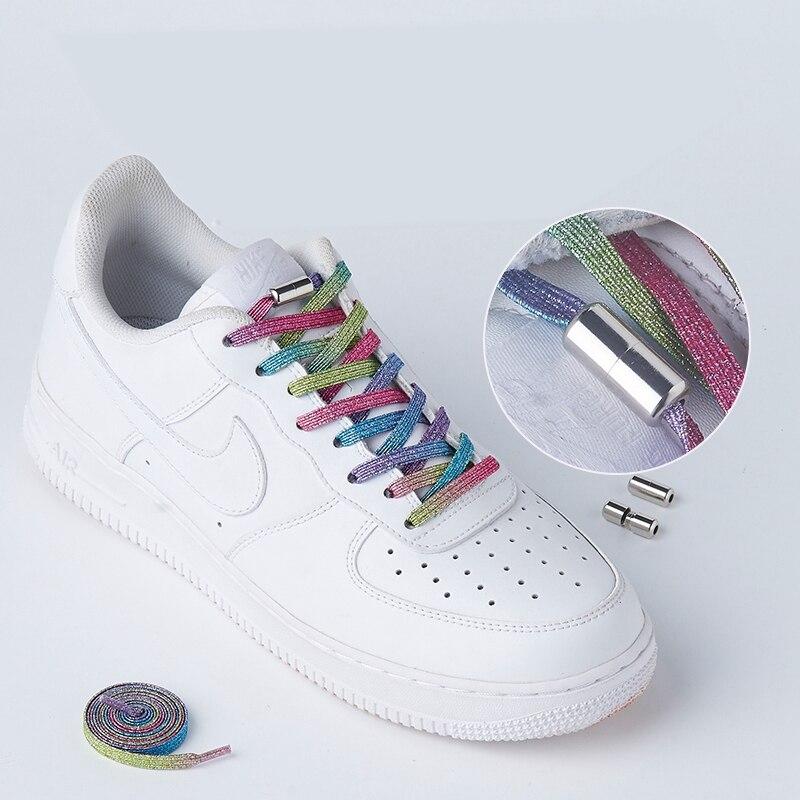 Nouveaux lacets de verrouillage élastiques chaussures plates pas de lacet de cravate rapide baskets verrouillage lacets de chaussures enfants adultes femmes hommes chaussures dentelle cordes|Lacets|   - AliExpress