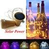 Lampe solaire en forme de liège, batterie, fil de cuivre LED, lampe féerique pour bouteille de vin, décoration de fête de mariage et de noël