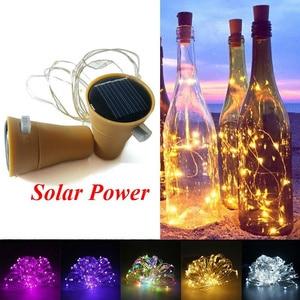 Solar/ Battery Power Cork Shaped LED Night Fairy Copper Wire String Lights Wine Bottle Light Lamp Wedding Christmas Party Decor