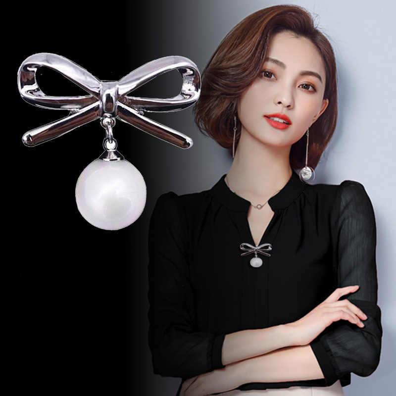 ホット販売 2019 韓国シルバー色パールビーズブローチ女性のためのスカーフ弓固定抗着用バックルエナメルピンジュエリー