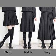 Эластичная талия японская Студенческая школьная форма для девочек сплошной цвет JK костюм Короткая юбка в складку/Средняя/длинная старшеклассница
