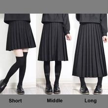 Uniforme escolar japonés para estudiantes y niñas, cintura elástica, traje JK de Color sólido, Falda plisada corta/media/larga