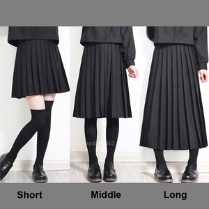 Elastic Waist Japanese Student Girls School Uniform Solid Color JK Suit Pleated Skirt Short/Middle/Long High School Dress(China)