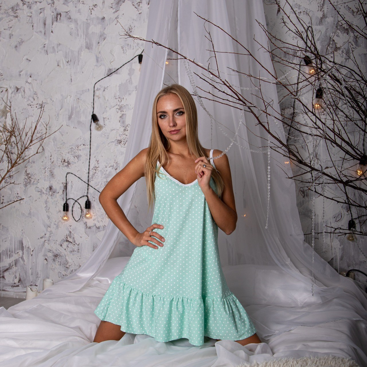 Atoff casa camisa feminina zhs 004 (ervilhas em hortelã/ervilhas azuis)